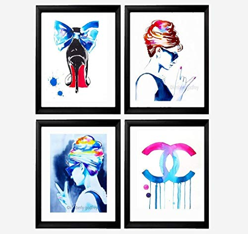 Set of 4 Art Prints Fashion Icons Illustrations Salon Decor Hot Pink Audrey Hepburn Rocks