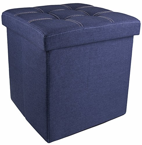 Blue Denim Collapsible Storage Ottoman Foot Rest