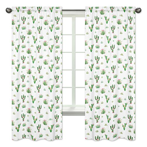 Pink Green Boho Watercolor Window Treatment Panels Curtains for Cactus Floral Collection by Sweet Jojo Designs - Set of 2
