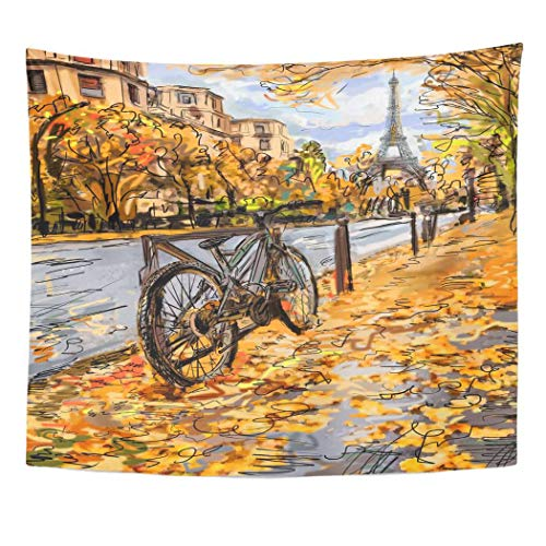 Wall Cosmopolitan Maps (Emvency Wall Tapestry Scene Street in Autumn Paris Eiffel Tower Sketch Architecture Black Built City Cityscape Construction Cosmopolitan Decor Wall Hanging Picnic Bedsheet Blanket 60x50 Inches)