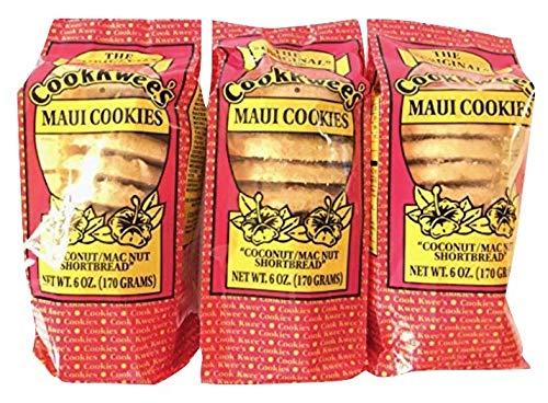 The Original Maui CookKwees Hawaii Cookies 3 Pack- 6 oz. Each (Coconut Macadamia Nut Shortbread) ()