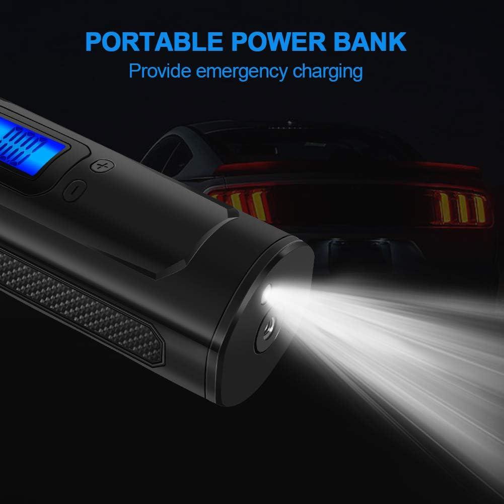 RIKIN Mini Compresseur d/'air Portable Auto Gonfleur Pneus Voiture Compresseur /à Air /Électrique Rechargeable Multifonctionnel avec /Écran LCD Affichage Digital Lampe LED C/âble USB 150 PSI
