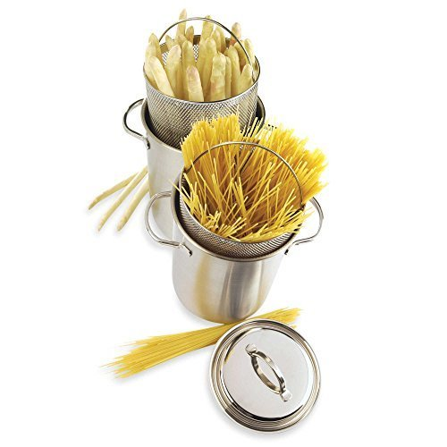 4.8 Quart Stainless Steel Vertical Cooker for Asparagus/Pasta 3 Piece Set with Lid and Spot Welded Handles by Demeyere by Demeyere