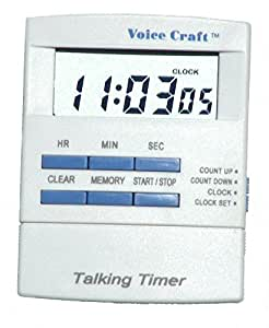 Voice Timer and Clock, Compact with Clip and Magnetic Strip