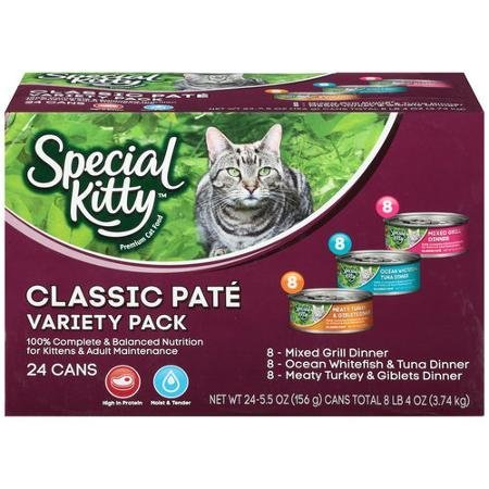Special Kitty Classic Pate Variety Pack Wet Cat Food, 5.5-Ounce Cans (Pack of 24) (1 pack)