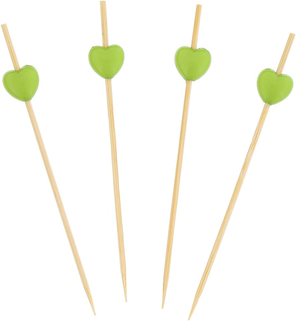 Pack of 100 CiboWares 4.75 Bamboo Picks with Green Heart Shaped End
