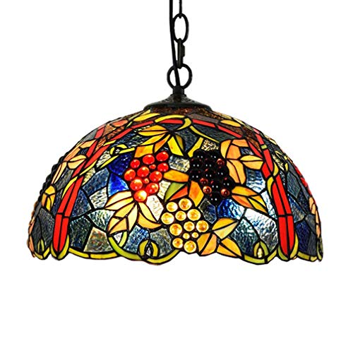 (Tiffany Style Chandelier, European Creative Grape/Stained Glass Decoration Pendent Light, Art Retro Pendent Lamp For Bedroom Living Room Dining)