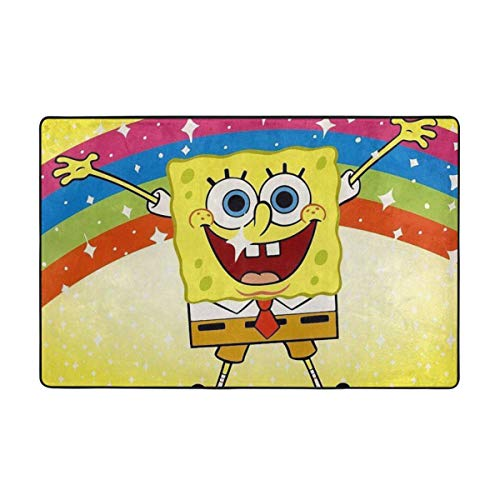 Large Non-Slip Area Rug Spongebob Squarepants Happy Rainbow Cartoon Carpet Living Room Rugs Floor Mat Doormats 60 X 39 Inches