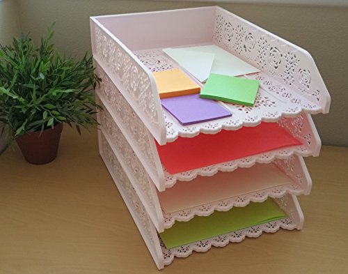 9 Pack Stackable Letter Tray. Desk Office File Document Paper