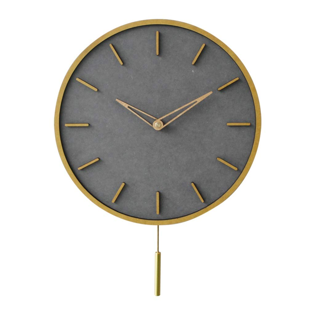 FJKAHGA Lovely Design Wooden Quartz Analog Round Wall Clock with Cute Dial, 30CM Gray
