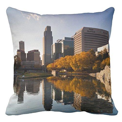 Usa, Nebraska, Omaha, Gene Leahy Mall, Skyline Sofa Pillow Cover Decorative Couch Cushion Cover for Living Room Canvas Slipcover 16 x - Mall Nebraska Omaha