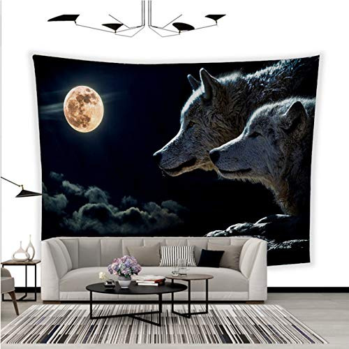 - BEISISS Fashion Creative Custom Tapestry,Wolf,Moon,Clouds,Sky,Moon,Night,Light Reflection,Animal,Wild,White Gray Black Polyester Fabric Tapestries for Bedroom Living Room Dorm-90x70in