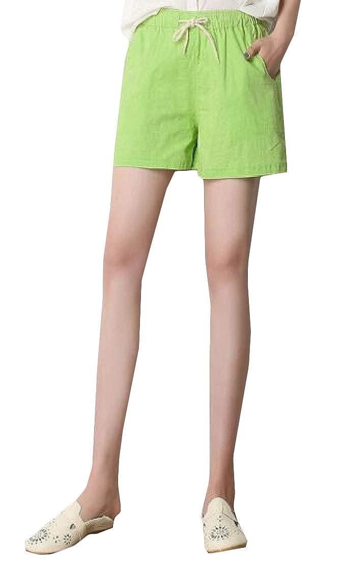 Joe Wenko Women Elastic Waist Loose Summer Thin Linen Fashion Shorts