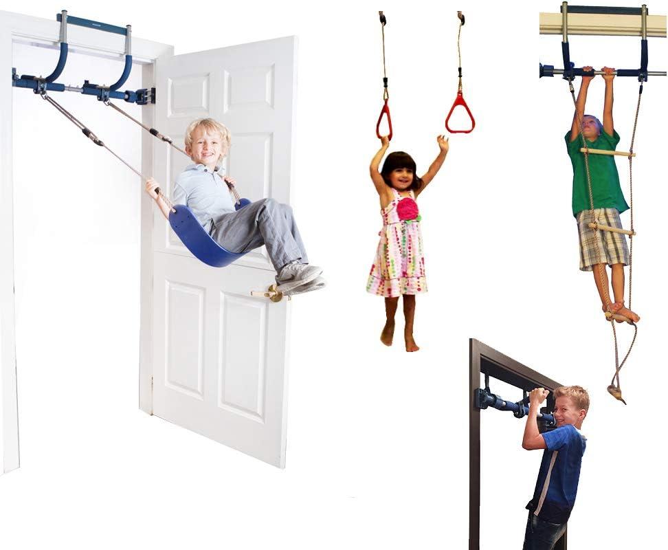 Gorilla Gym Escalera de agilidad con columpios interiores y anillos de plástico para infantiles