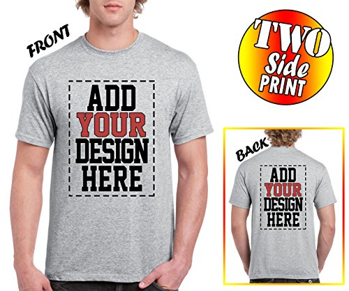 (Custom 2 Sided T-Shirts - Design Your OWN Shirt - Front and Back Printing on Shirts - Add Your Image Photo Logo Text Number)