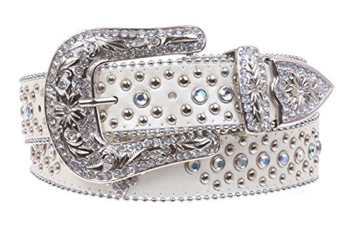 Ladies Western Rhinestone Silver Circle Studs and Fleur De Lis Ornaments Genuine Leather Belt Size: S/M - 34 Color: White