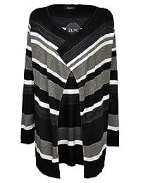 ZLYC Women's Stripe Tribal Geometric Blanket Wrap Cardigan Sweater with Open Front