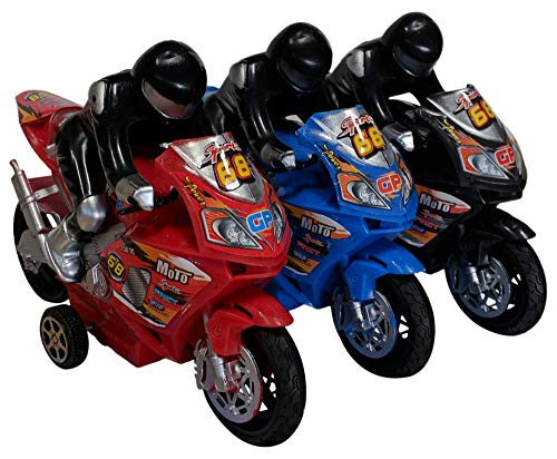 Best Assorted Colors 3 Pc Small Green Red Black Blue Toy Motorcycle Set for Boy Girl Fun Gag New Easter Basket Stuffer Gift Idea Under 20 Dollars Sale Little Kid -