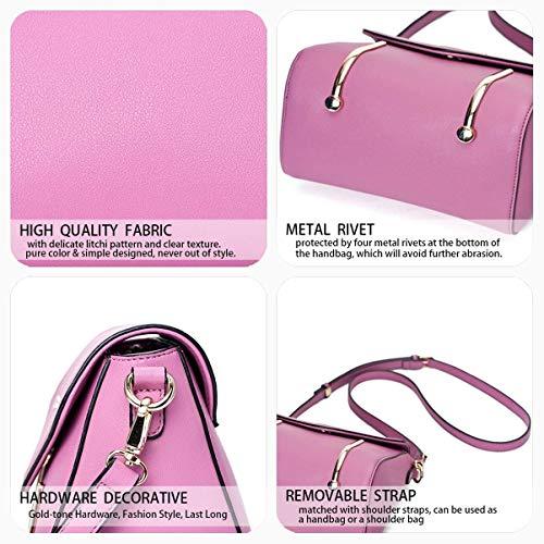 Hobos Bolsa Pu Con Superior Eeayyygch Cuero Light Bolso Para Asa Asas Hombro Mujer Bolsos Violet color Burgundy De Bandolera 1zw6dwHq