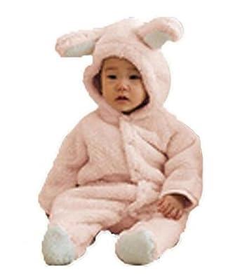 7fd1d7008fba Amazon.com  Luckyauction Baby Toddler Winter Cute Bear Fleece Romper ...