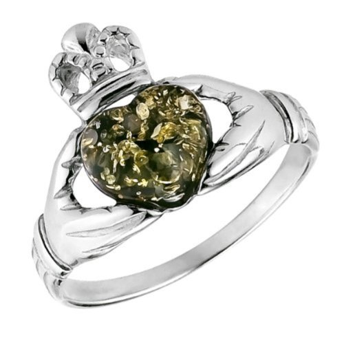 Amber Stone Jewelry - Green Amber and Sterling Silver Irish Claddagh Ring