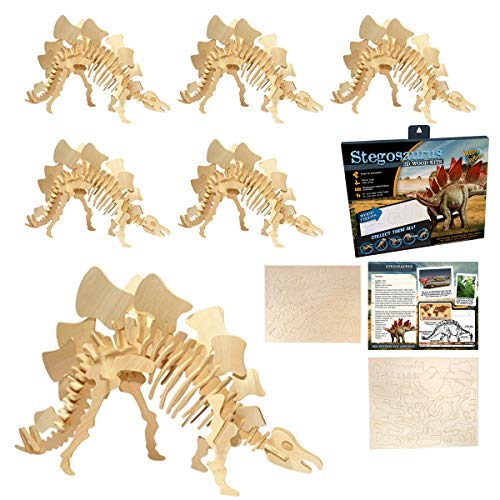Kicko Wooden Stegosaurus Puzzle Kit - Pack of 3 Dinosaur Wood 3D Construction Toys - Educational Tools in Schools, Homes, Offices, Fun Learning Activities for Young Little Learners, Modeling