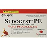 Sudogest PE Generic for Sudafed PE Nasal Decongestant Phenylephrine HCl 10mg Tablets 36CT