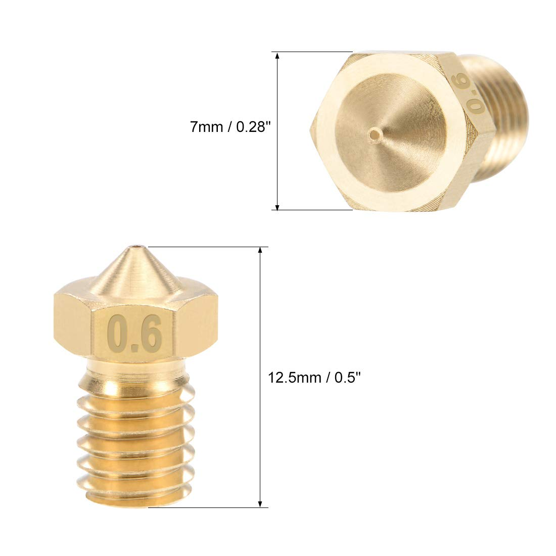 sourcing map 0.2mm 3D Printer Nozzle Head M6 Thread Replacement for V5 V6 1.75mm Extruder Print Stainless Steel 2pcs