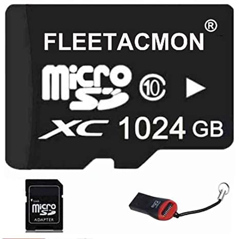 FLEETACMON 1024GB Micro SDHC SD TF Memory Card Class10 with Micro SD Adapter 1024G 1TB Black + Reader