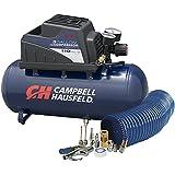 Air Compressor, Portable, 3 Gallon Horizontal, Oilless, w/10 Piece Accessory Kit Including Air Hose & Inflation Gun (Campbell Hausfeld FP209499AV)