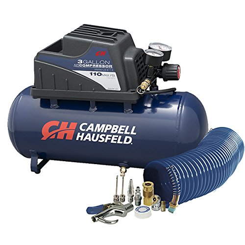 - Air Compressor, Portable, 3 Gallon Horizontal, Oilless, w/ 10 Piece Accessory Kit Including Air Hose & Inflation Gun (Campbell Hausfeld FP209499AV)