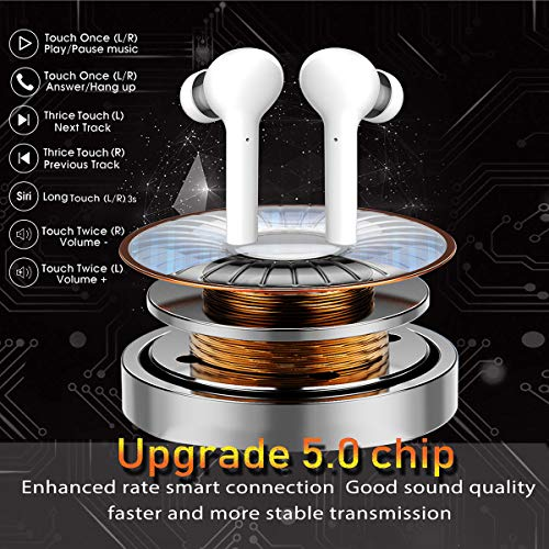 Latest Bluetooth 5.0 Earbuds Sports IPX7 Waterproof Noise Canceling Stereo Premium Sound Headsets True Wireless Headphones with Charging Case (White)
