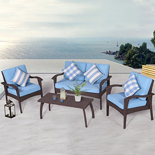 Alfresco Patio Set (Diensday Patio Outdoor Furniture|Sectional Conversation Chair Sofa Sets Clearance Deep Seating Cushions Chat Set, with Olefin Cushion, All-Weather PE Wicker, Coffee Table(4 piece, Sky Blue))