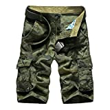 BATUOS Men Baggy Rugged Dungarees Outdoor Workwear Tactical Military Camo Cargo Shorts