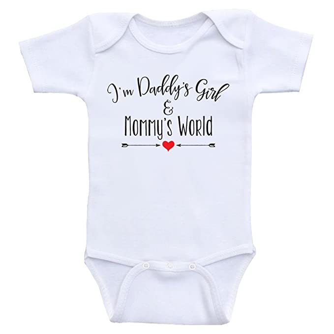898d25614c10 Amazon.com  Heart Co Designs Cute Baby Girl Clothes Daddy s Girl and Mommy s  World Onesies for Baby Girls  Clothing