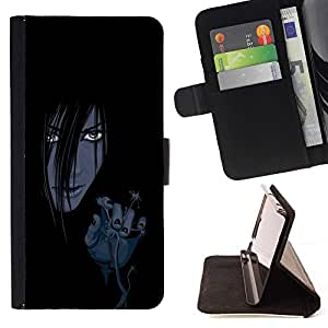 For Samsung Galaxy A3 Evil Anime Girl Style PU Leather Case Wallet Flip Stand Flap Closure Cover