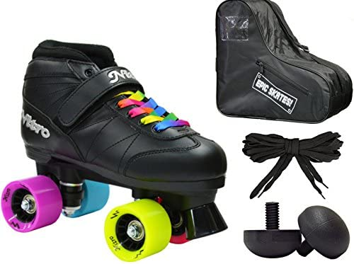 New Epic Super Nitro Rainbow Indoor Outdoor Quad Roller Speed Skate 4 Pc. Bundle w Bag Jam Plugs Mens 5