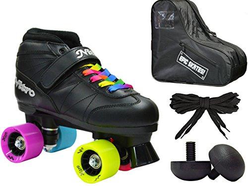 New! Epic Super Nitro Rainbow Indoor / Outdoor Quad Roller Speed Skate 4 Pc. Bundle w/ Bag & Jam Plugs (Mens 7)