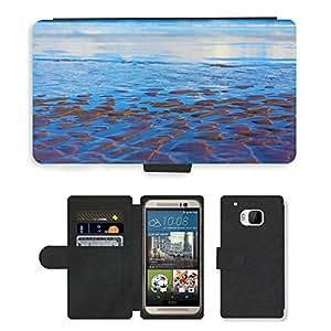 PU LEATHER case coque housse smartphone Flip bag Cover protection // M00150919 Antecedentes Beach Blue Coast color // HTC One M9