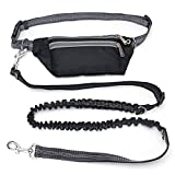 Sikoon Hands Free Running Dog Leash with Waist Bag, Retractable Bungee, Adjustable Waist Belt, Dual Handles, Night Reflective Design - Black