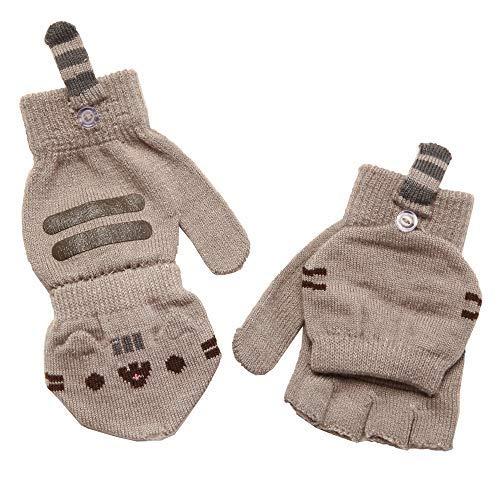 Pusheen Cat Face Fingerless Gloves with Mitten Covers, Gray by Pusheen