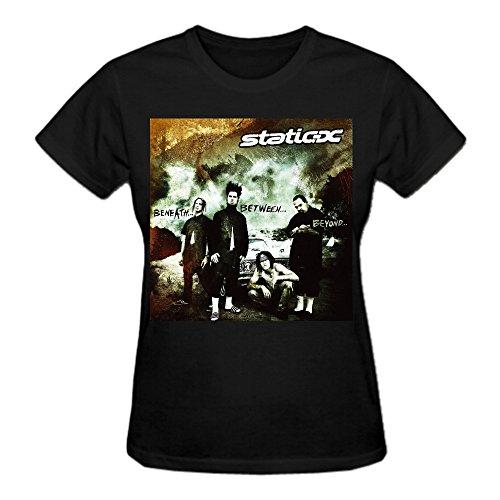 Static X Beneath Between Beyond Women T Shirts Round Neck Black