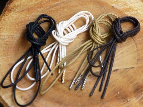 (クツヒモドットコム)靴ひも.com オーガニックコットン靴紐(濃茶・約2.5mm)110cm・120cm・130cm・140cm みつろう無