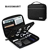 BAGSMART 2-layer Travel Electronic Cable Organizer Cases for 10.5'' iPad, Cables, Chargers, USB drive, Black