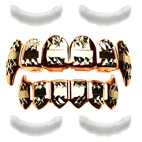 - METALTREE98 Rose Gold Vampire Grillz Fangs Teeth Dracula with 4pc Fixing bar/LS 020 C3 RG
