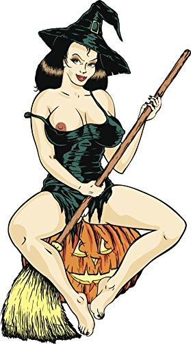 Sexy Exposed Halloween Witch On Jack-O-Lantern Cartoon Vinyl Decal Sticker (8