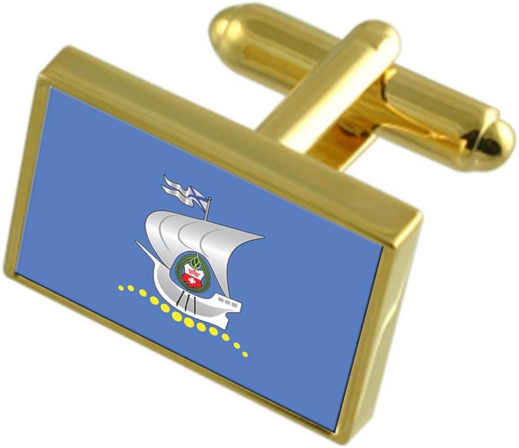 Kaliningrad City Russia Gold-tone Flag Cufflinks Engraved Box
