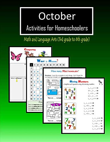 October Activities for Homeschoolers: Math and Language arts (3rd grade to 6th grade) -