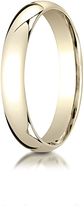 b8f922c71e689 Benchmark 14K Yellow Gold 4mm Slightly Domed Super Light Comfort-Fit  Wedding Band Ring (Sizes 4 - 15 )