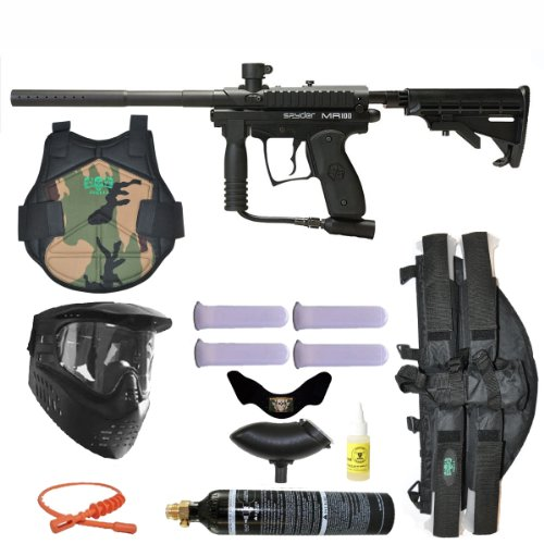 Spyder MR100 Pro Paintball Marker Gun 3Skull 4+1 9oz Protector Mega Set - Black